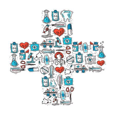 botiquin de primeros auxilios: Medicina y concepto de salud con iconos decorativos m�dicos en forma de cruz ilustraci�n vectorial