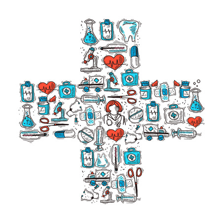 aid: Medicine and healthcare concept with medical decorative icons in cross shape vector illustration