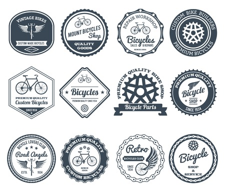 Cycling club retro decorative emblems black set isolated vector illustration