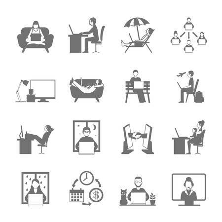 teamwork business: Freelance online and remote work in garden beach and night flat silhouette icon set isolated vector illustration