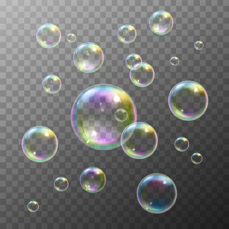 Realistic soap bubbles with rainbow reflection set isolated vector illustration Çizim