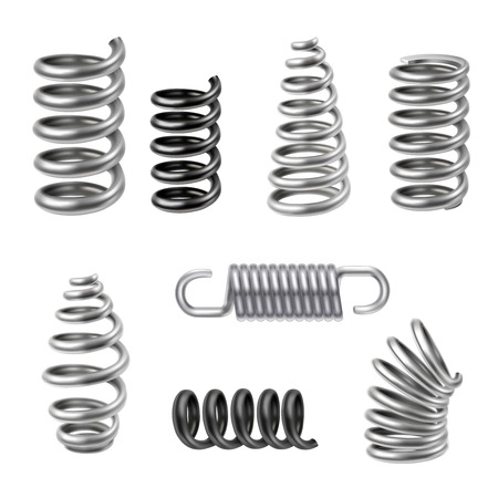 espiral: Resortes de metal realista y absorbedores m�quina conjunto aislado ilustraci�n vectorial Vectores
