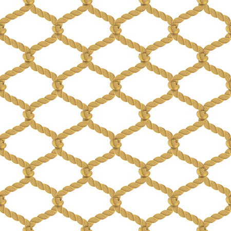 cords: Associated twisted ropes net with rhombic cell realistic color decorative seamless pattern vector illustration Illustration