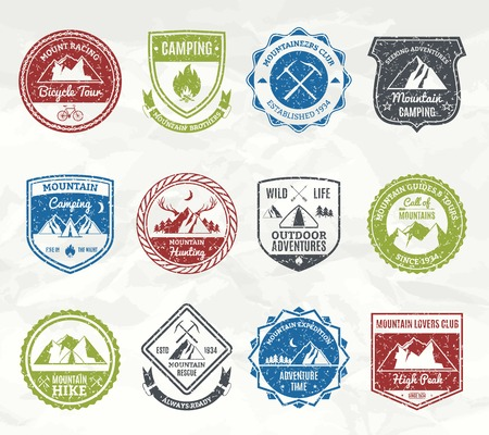 ski: Mountain exploration and wild nature adventure stamps set isolated vector illustration