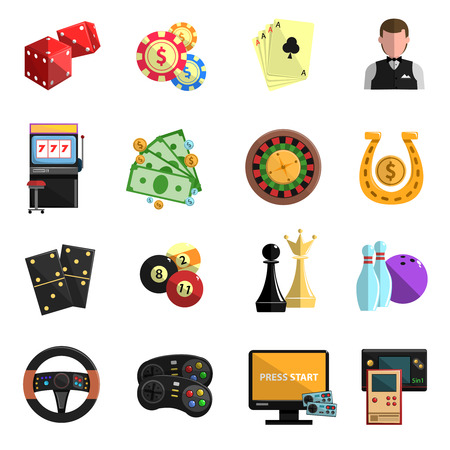 roulette online: Casino club online for computer gambling games with cards deck flat icons set abstract isolated vector illustration