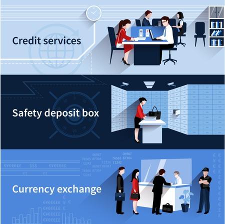 banco dinero: Banco Popular banners horizontales establecidas con los servicios de cr�dito y elementos planos de cambio de divisas aislados ilustraci�n vectorial
