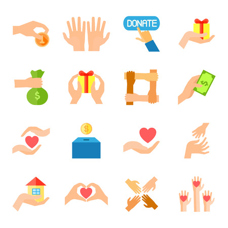 mutual assistance: Donate given or charity and assistance help or aid flat color icon set isolated vector illustration Illustration