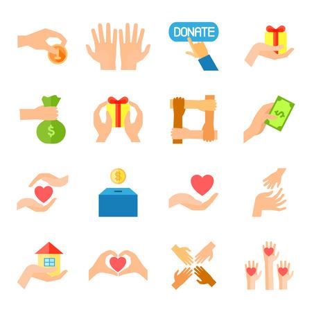 Doneren gegeven of liefdadigheid en bijstand hulp of steun flat kleur icon set geïsoleerd vector illustratie