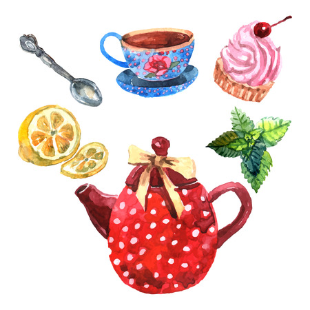 Watercolor tea set with cup teapot spoon and dessert isolated vector illustration Illustration