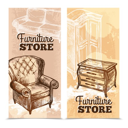 furnishing: Furniture banners vertical set with vintage hand drawn interior objects isolated vector illustration