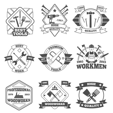 work tools: Premium quality hand work tools label set isolated vector illustration