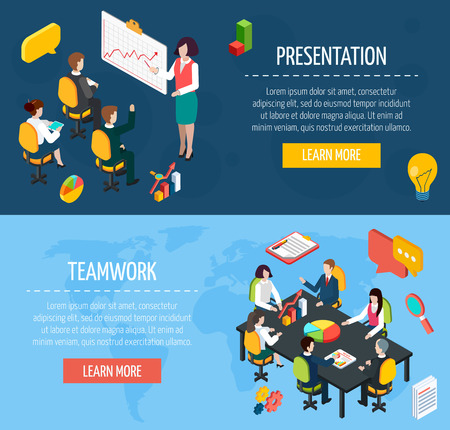 office team: Business people teamwork and presentation interactive website isometric banners with learn more button abstract isolated vector illustration Illustration
