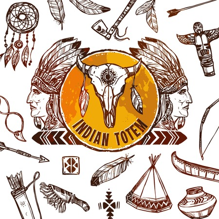 bonnet illustration: Native americans background with sketch indian chief profile vector illustration