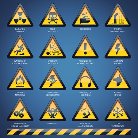 hazard: Dangerous hazard and other warning signs set isolated vector illustration
