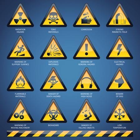 signos de precaucion: Peligro peligroso y otras señales de advertencia conjunto aislado ilustración vectorial Vectores