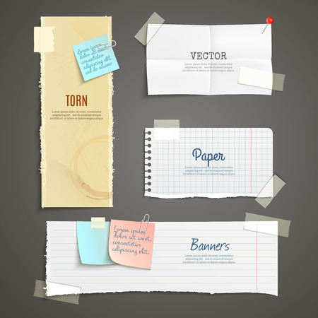 office note: Torn paper lined plaid white yellow clear and folded vertical and horizontal banner set isolated vector illustration Illustration