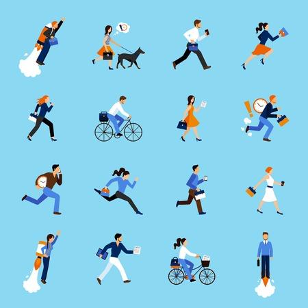 gente corriendo: Conjunto de funcionamiento de las personas de negocios iconos planos aislados ilustración vectorial