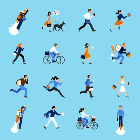 business scene: Set of running business people flat icons isolated vector illustration