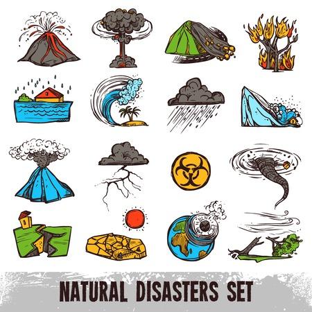 Esbozo de color desastres naturales establece con tornados huracanes y tsunami aislado ilustración vectorial