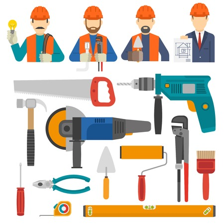 construct: Construct icons flat set with engineer avatars and worker tools isolated vector illustration