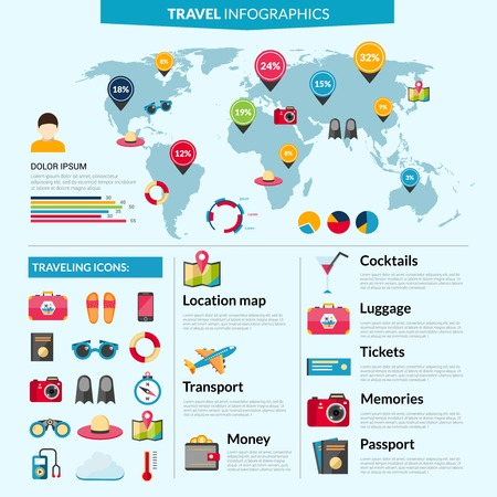 world travel: Travel infographics set with holiday symbols and world map vector illustration