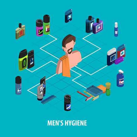 personal hygiene: Man personal hygiene and body care character with deodorant razor and lotions color isometric concept vector illustration Illustration
