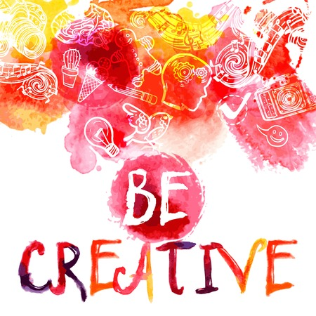 Creativity watercolor concept with be creative lettering and art and logic symbols set vector illustration