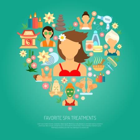 masajes relajacion: Concepto del balneario con belleza plana iconos de tratamiento establecido ilustración vectorial
