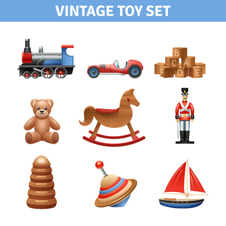 Vintage toy realistic icons set with teddy bear ship and soldier isolated vector illustration Illustration
