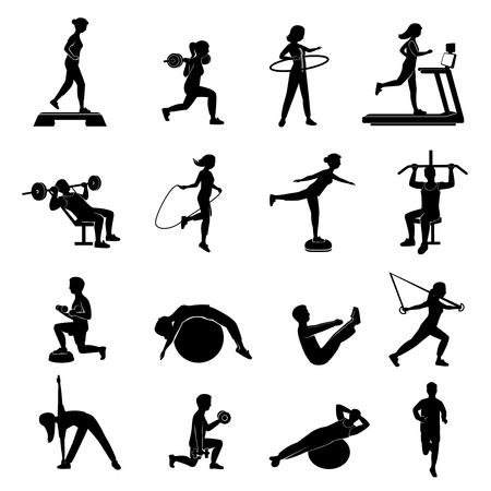 workout gym: Fitness cardio workout and body shaping exercise with aerobic equipment black icons set abstract isolated vector illustration