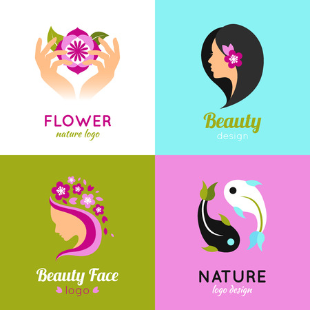 beauty woman face: Natural beauty of woman face with exotic flowers 4 flat icons composition square abstract vector isolated illustration