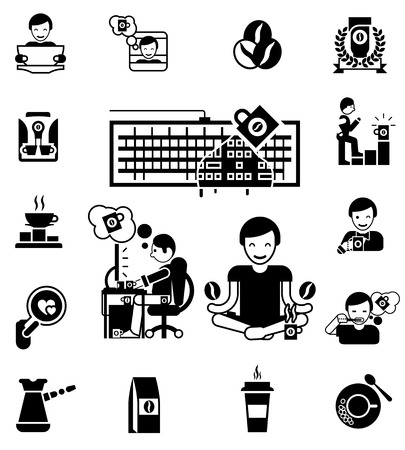 computer icons: Coffee and waking up black white icons set with computer and cup flat isolated vector illustration Illustration
