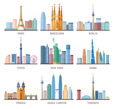 Cities skylines icons set around the world with Eiffel tower and Statue of Liberty flat isolated vector illustration Çizim