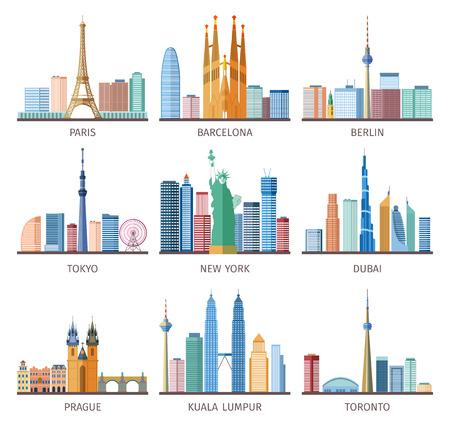 Steden skylines pictogrammen die over de hele wereld met de Eiffeltoren en Vrijheidsbeeld vlakke geïsoleerde vector illustratie