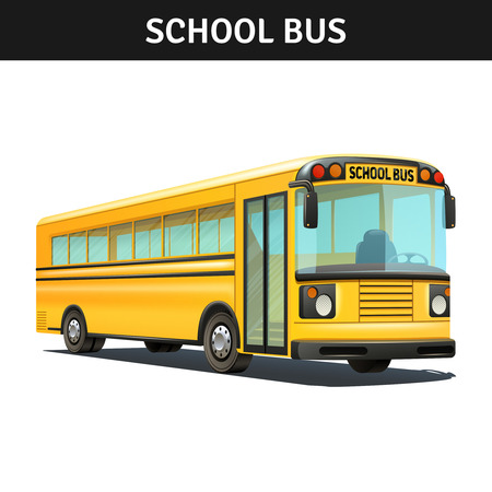 Yellow empty school bus design with title realistic vector illustration