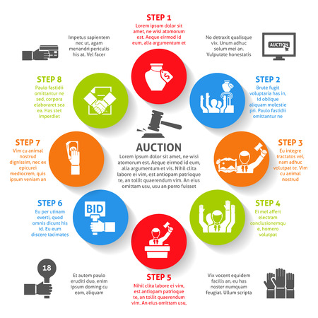 Auction infographic set with steps payment and online deal flat vector illustration