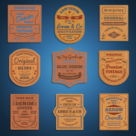 leather: Original vintage blue raw jeans genuine leather exclusive brands classic favorite  labels collection abstract isolated vector illustration