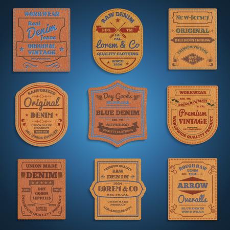 in jeans: Tejanos primas cuero genuino marcas exclusivas originales de época clásica colección de etiquetas abstracto ilustración vectorial Vectores