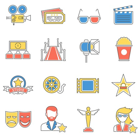 movie screen: Movie icons line set with theater film reel screen isolated vector illustration