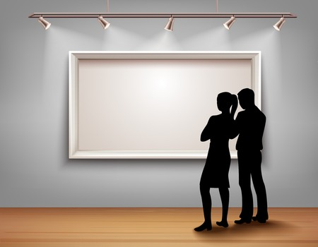 Standing people silhouettes in front of picture frame in art gallery interior vector illustration