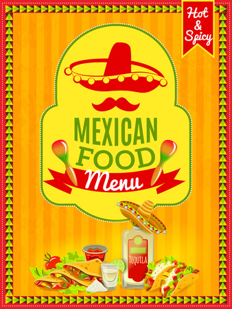 mexican: Mexican national cuisine and traditional cafe restaurant or bar menu flat bright color poster vector illustration