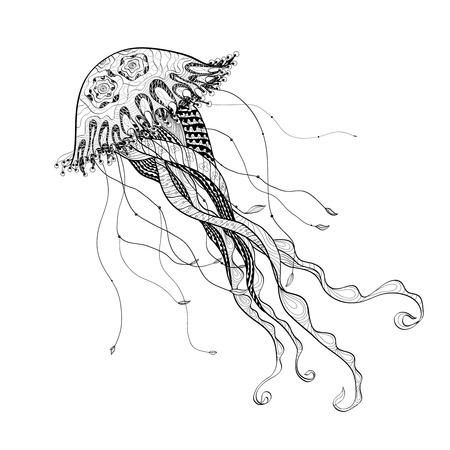 showpiece: Ocean giant medusa jellyfish engraving art showpiece  decorative  poster doodle style design  black line abstract vector illustration Illustration