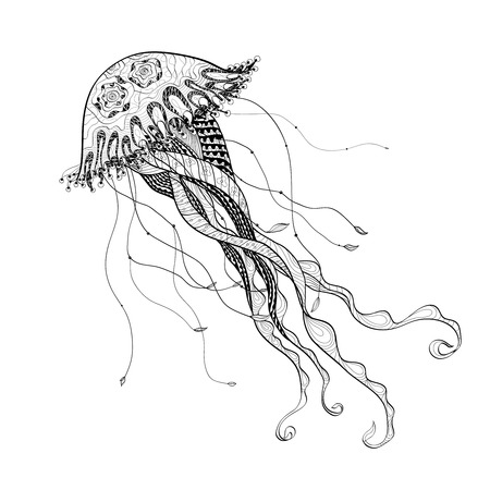 Ocean giant medusa jellyfish engraving art showpiece  decorative  poster doodle style design  black line abstract vector illustration Illustration