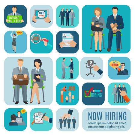 Buscando trabajo y solicitud en línea a través de las agencias de contratación sitios iconos planos aislados colección abstracta ilustración vectorial