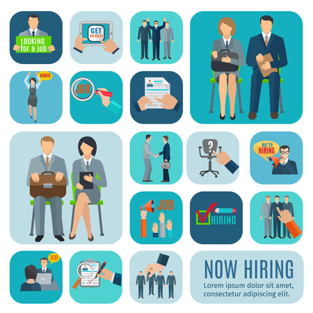 entrevista de trabajo: Buscando trabajo y solicitud en línea a través de las agencias de contratación sitios iconos planos aislados colección abstracta ilustración vectorial Vectores