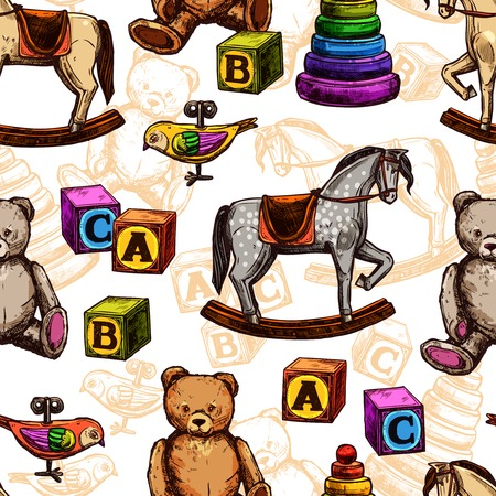 soft toy: Vintage toy seamless pattern with sketch rocking horse teddy bear and pyramid vector illustration