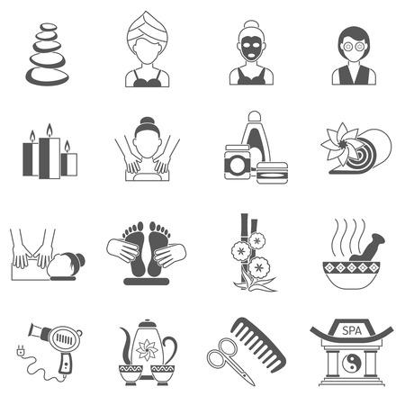 Spa pictogrammen zwart set met lichaam en gezichtsbehandeling huid geïsoleerde vector illustratie Stock Illustratie
