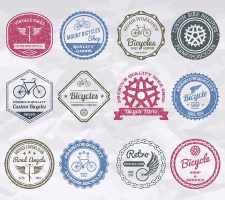 Cycling shop premium quality emblems stamps set isolated vector illustration