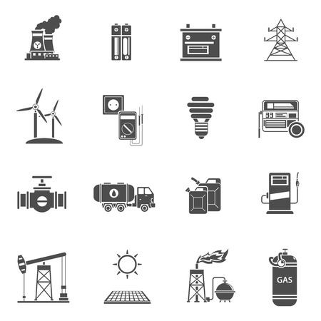 wind mills: Environment friendly energy generating wind mills and solar power batteries black icons set abstract isolated vector illustration