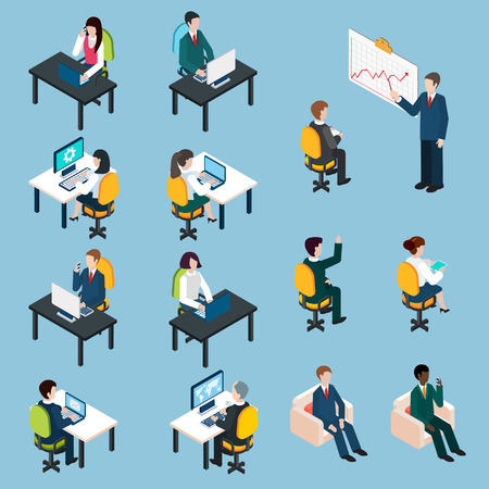 office: Business team members at work analyzing sharing presenting and collaborating  isometric pictograms set abstract isolated vector illustration